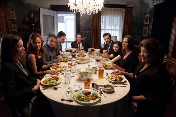 (L-R) JULIANNE NICHOLSON, JULIETTE LEWIS, DERMOT MULRONEY, BENEDICT CUMBERBATCH, CHRIS COOPER, EWAN McGREGOR, ABIGAIL BRESLIN, JULIA ROBERTS and MARGO MARTINDALE star in AUGUST: OSAGE COUNTY